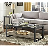 Chodo 48 Driftwood And Black Urban Blend Coffee Table with Glass Top