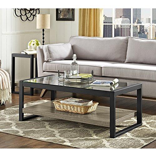 "WE Furniture AZ48UBGLAG Wood Metal Side Driftwood, 48"" Coffe"