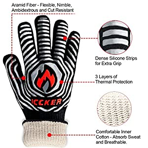 "ICCKER Grill Gloves - 932°F Extremely Heat Resistant BBQ Gloves, 14"" Grilling Cooking Gloves, Premium Insulated & Anti-Slip Aramid Oven Mitts, 1 Pair"