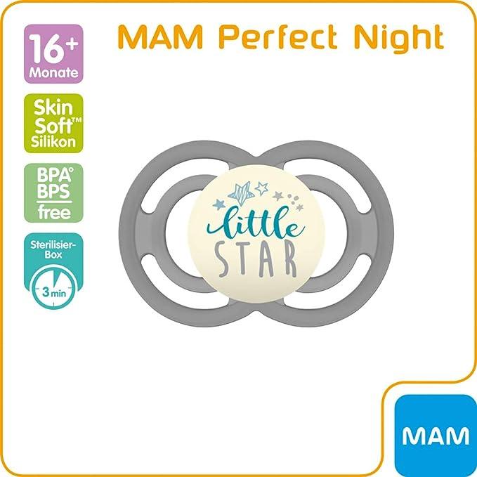 azul 16+ meses Chupete nocturno que brilla en la oscuridad MAM Perfect Night 16+ chupete de silicona autoesterilizable chupete ortod/óntico para unos dientes sanos
