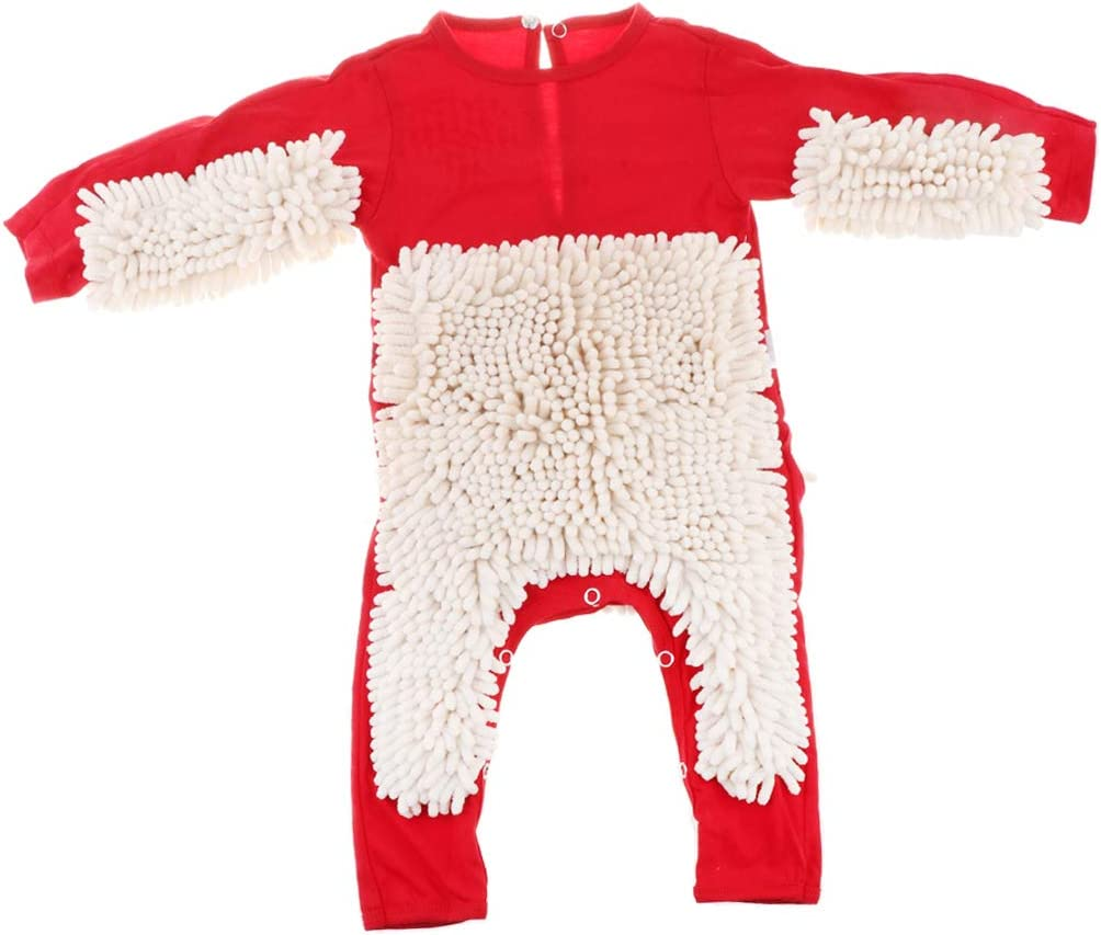 73cm F Fityle Baby Mop Romper for Newborn Boys Girls Clothes Long Sleeve Crawling Jumpsuit Infant Cleaning Mop Suit Costume Bodysuit Blue+Rose Red