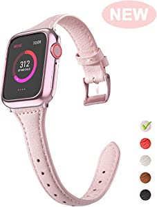 OULUOQI Compatible with Apple Watch Band 40mm 38mm with Soft Bumper Case, 2019 Women Dressy Elegant Slim Leather Band Compatible with iWatch Sport Strap Series 5,4,3,2,1(Pink)