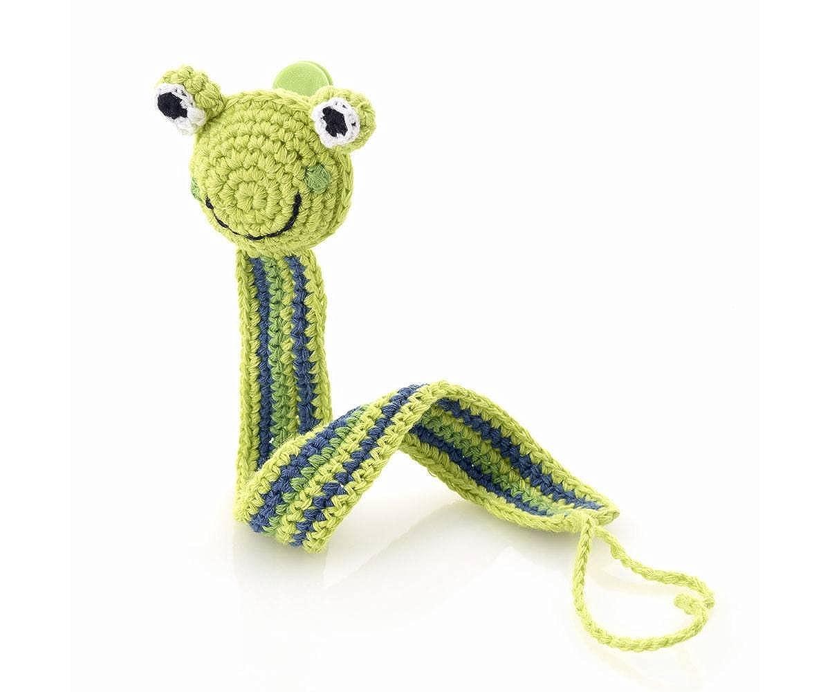 Verde rana mano ganchillo chupete chupete clip: Amazon.es ...