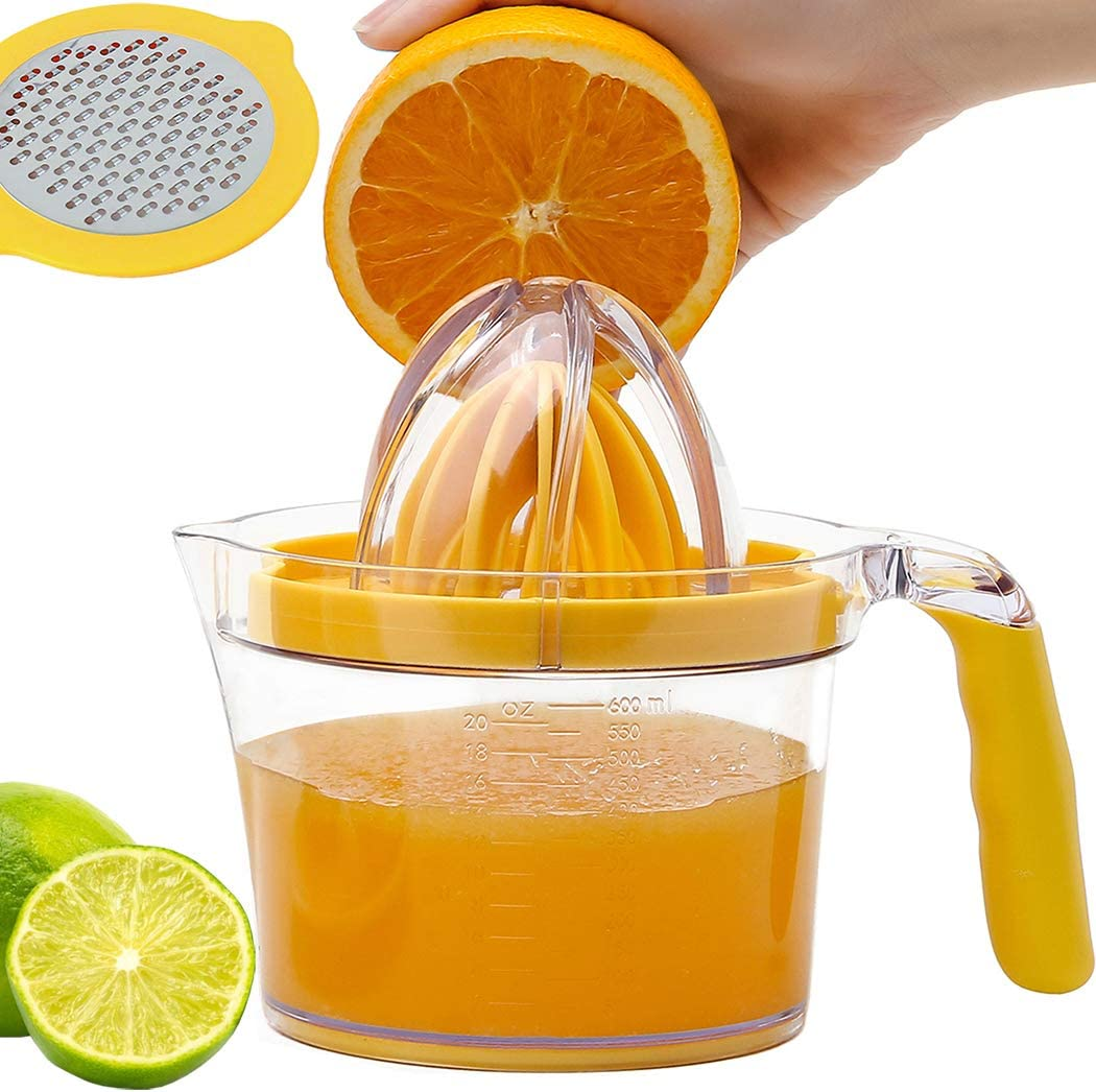 Lemon Squeezer Juicer Hand Press, Citrus Lime Squeezer Manual Orange Juicer with Built-in Measuring Cup and Grater and Egg Separator, Non-Slip Silicone Handle