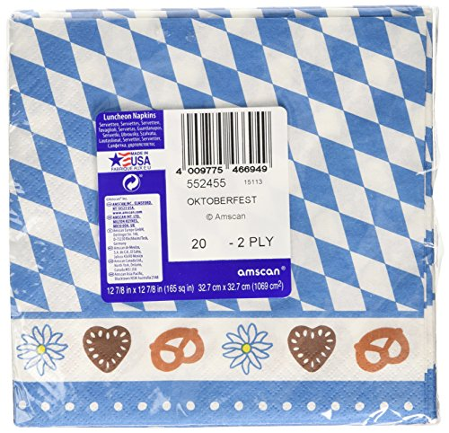 Amscan International Oktoberfest Bavarian Paper Party Lunch Napkins (20 Pack)