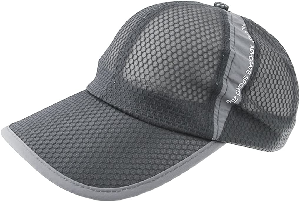 Womens Mens Quick Drying Mesh Baseball Cap Breathable Sun Protection Hat Adjustable Tennis Golf Fishing Cap