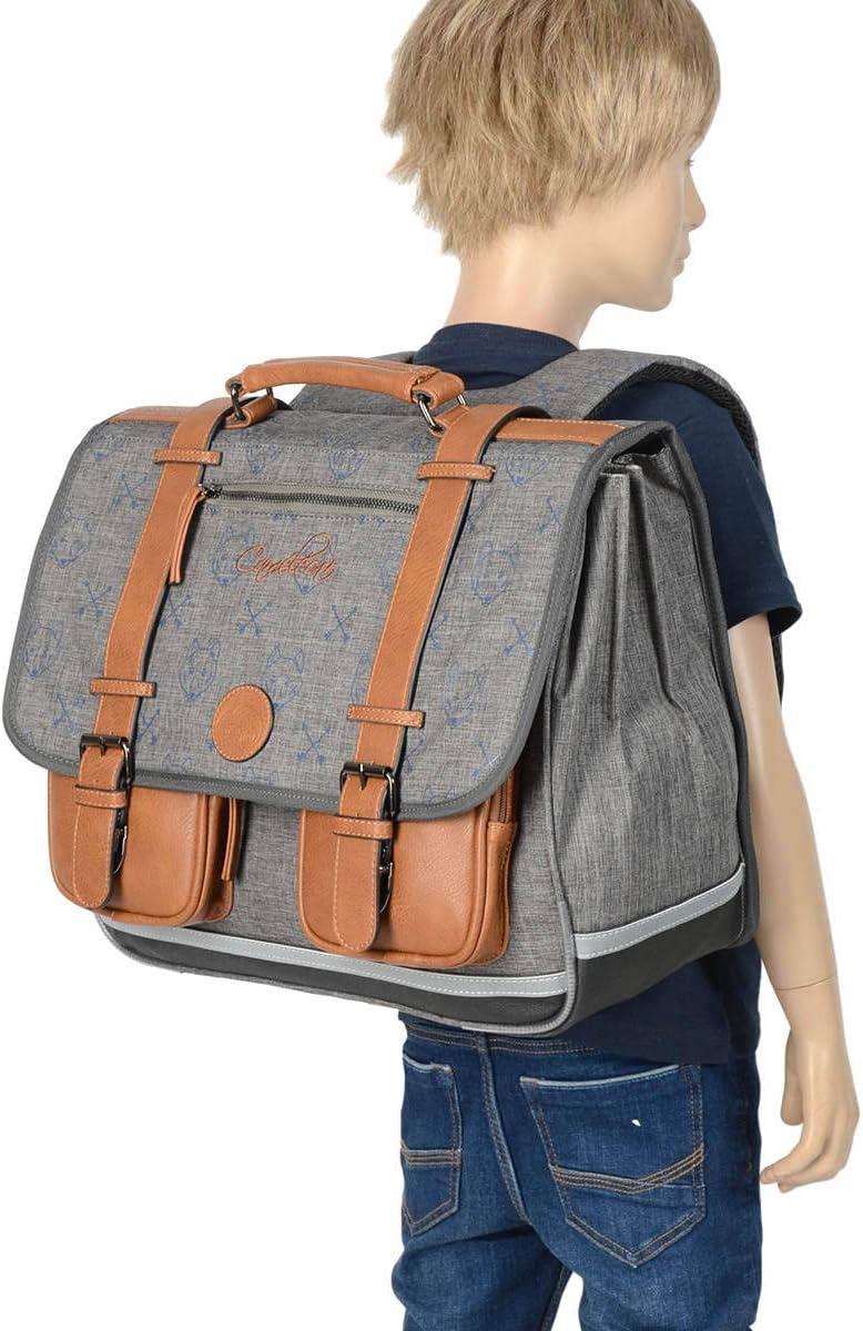 Cartable Scolaire 41cm Cam/él/éon Vintage Boy avec 3 Compartiments Id/éal pour l/école Primaire et la rentr/ée Scolaire en CM1 et CM2 pour gar/çon