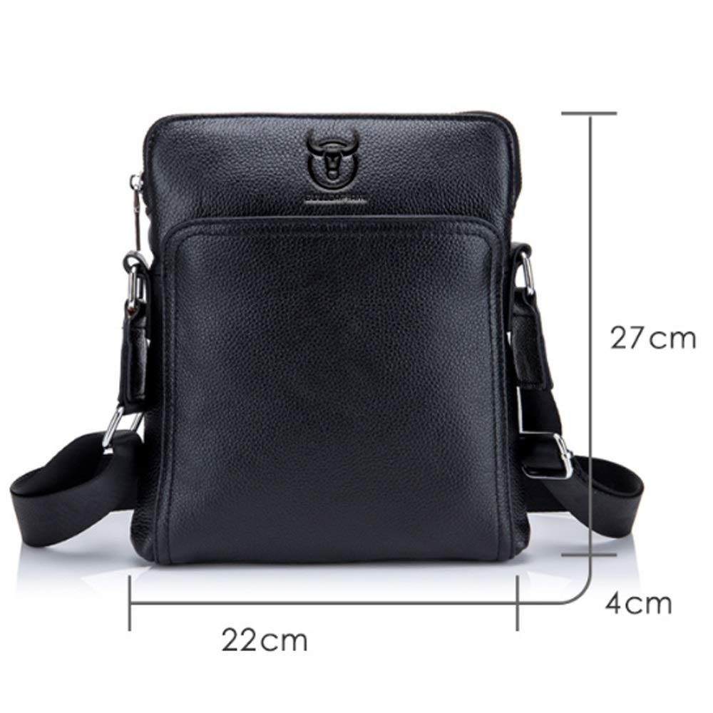 MUMUWU Mens Shoulder Bags First Layer Leather One Shoulder Crossbody Bag for Casual Shoulder Bag for Men Color : Black, Size : M