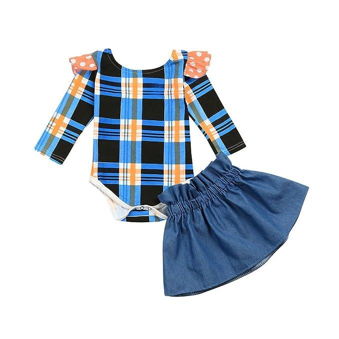 25825ad4b Amazon.com: Lurryly 2Pcs Baby Girl Lattice Backless Romper Tops+Skirt  Shorts Denim Set 0-24 M: Clothing