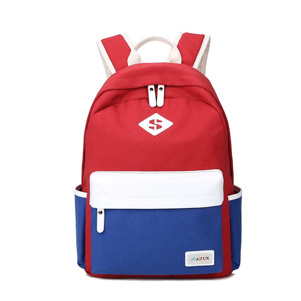 aca57c47906d Qearly Light Weight Canvas Backpack Travel Bags Rucksack Laptop School  Backpack For Women and Teen-Red Navy Blue  Amazon.co.uk  Luggage