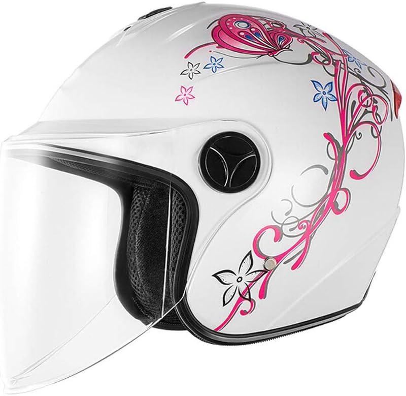 オートバイヘルメット女性、暖かいヘルメット男性ユニバーサル防曇電気ヘルメット、防風カラー保護カバー、ハーフヘルメット四季レトロヘルメット、明るい黒のデカール、防曇スプレーマスクのダストバッグを送信 (色 : 白) 白