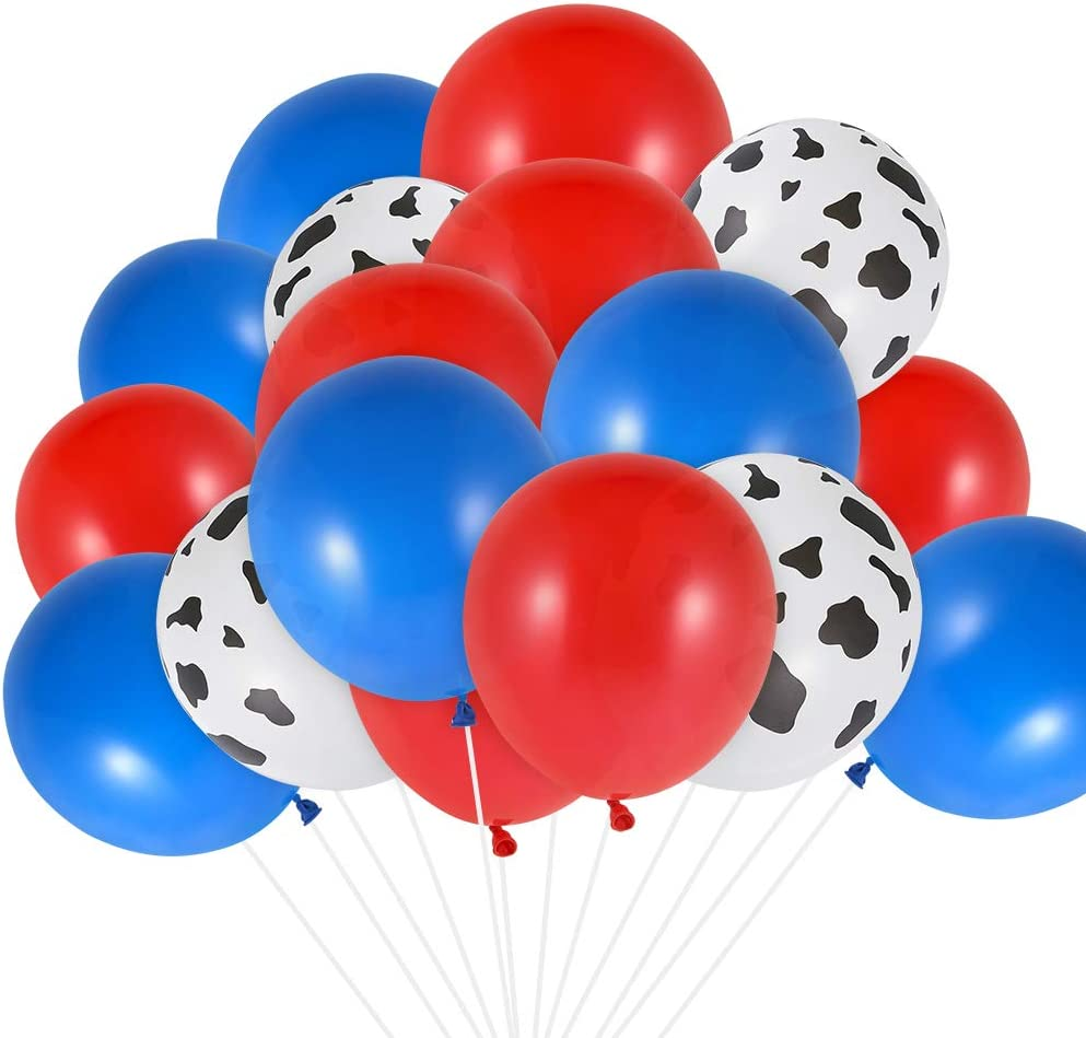Auihiay 50 Pieces 12 Inch Western Balloons Include Red Blue Cowboy Balloons Cow Print Balloons for Cowboy Party Decorations Baby Shower Western Decorations