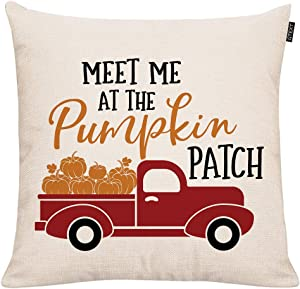 GTEXT Meet Me at The Pumpkin Patch Throw Pillow Cover Autumn Decor Red Truck Pumpkins Pillow Cuhion Cover Case for Couch Sofa Home Decoration Fall Pillows Linen 18 X 18 Inches