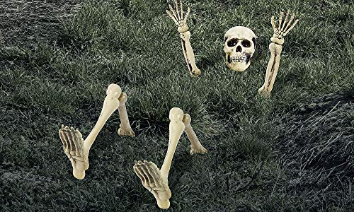 AMSCAN Lawn Skeleton Decoration, Halloween Props and Decorations, 12 Pieces