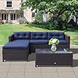 OC Orange-Casual Patio Furniture Set 5-Piece Outdoor Rattan Wicker Sectional Sofa with Glass Top Coffee Table & Seat Cushion, Large Size – Navy Blue