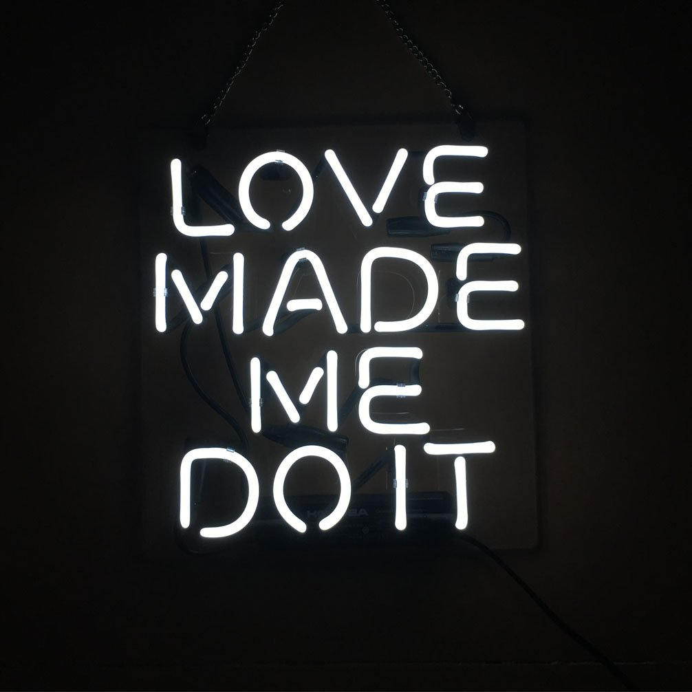 LiQi Love Made Me Do it Real Glass Handmade Neon Wall Signs for Room Decor Home Bedroom Girls Pub Hotel Beach Cocktail Recreational Game Room (11'' x 10'')