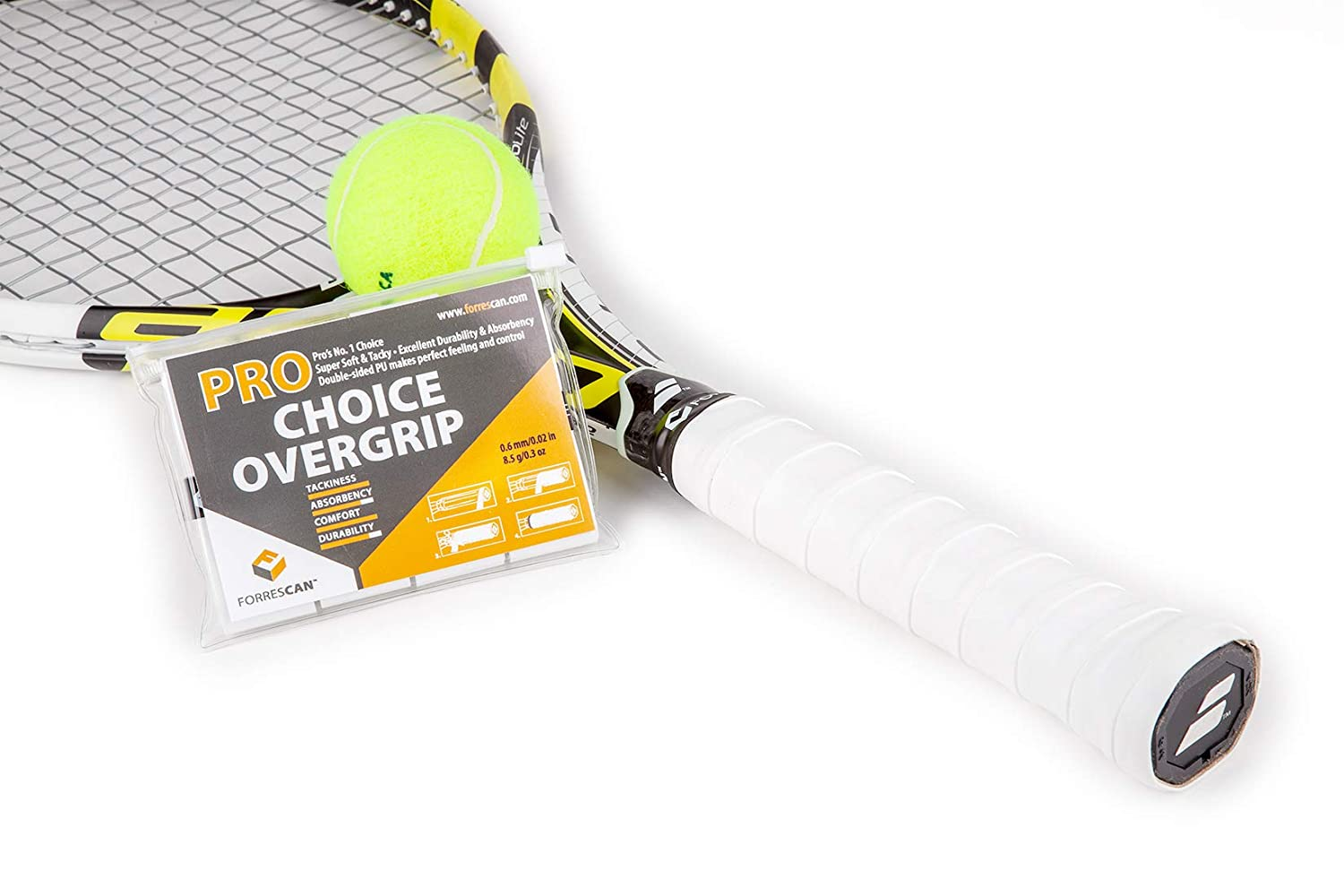Amazon.com : ForresCAN Tennis Overgrip - Pro Choice - Tacky Super-Soft - Pack of 3, White Soft Anti-Slip : Sports & Outdoors