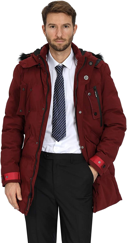 WEEN CHARM Mens Warm Parka Jacket Anorak Jacket Winter Coat with Detachable Hood Faux-Fur Trim