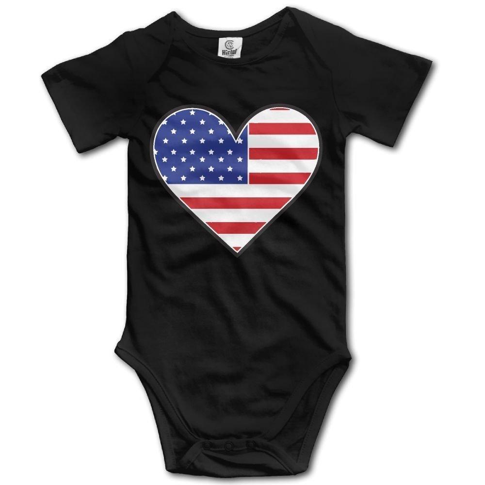 braeccesuit American Flag Heart Infant Baby Boys Girls Crawling Clothes Short Sleeves Romper Bodysuit Onesies Jumpsuit