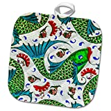3dRose Danita Delimont - Artwork - Ancient Arab Islamic Fish Designs Pottery Madaba Jordan - 8x8 Potholder (phl_276909_1)