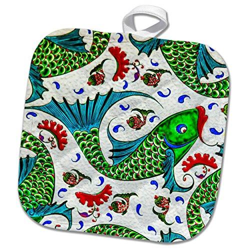 3dRose Danita Delimont - Artwork - Ancient Arab Islamic Fish Designs Pottery Madaba Jordan - 8x8 Potholder (phl_276909_1) by 3dRose