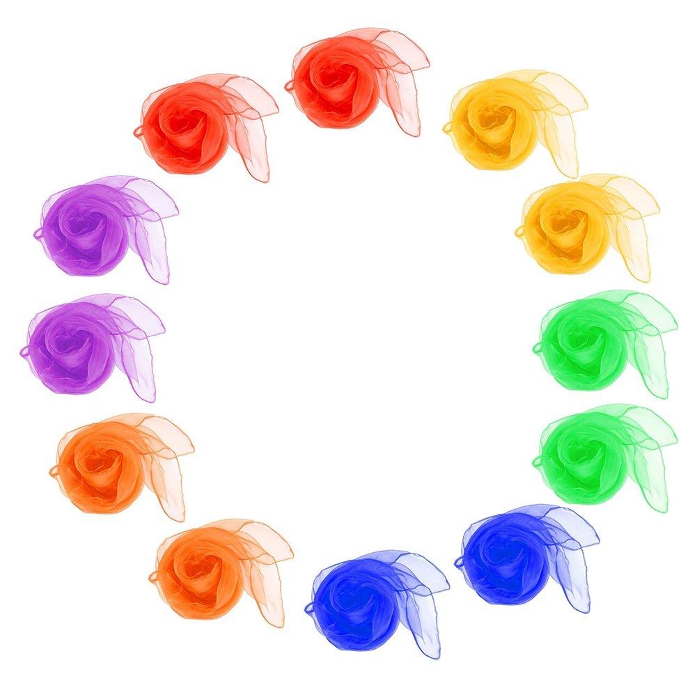 12xQingsun Juggling Dance Scarves Multicolor Magic Tricks Performance Props Accessories Movement Rhythm Band Scarves 24' x 24'