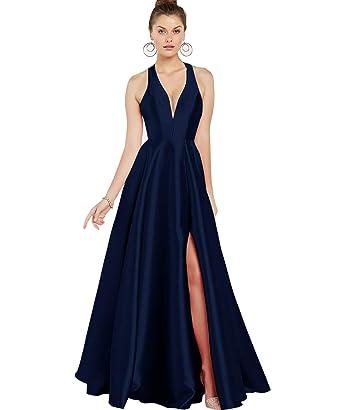 Blue Halter a Line Prom Dress