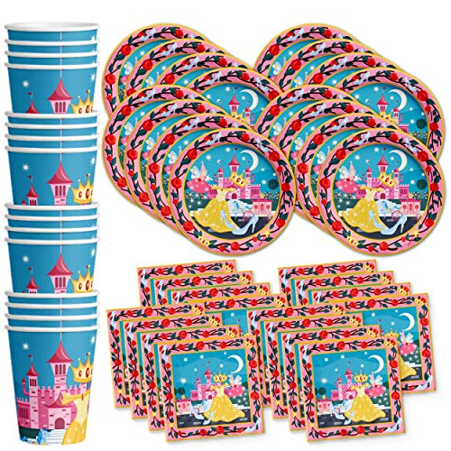 Disney Princess Party Tableware (Princess Fairytale Birthday Party Supplies Set Plates Napkins Cups Tableware Kit for)
