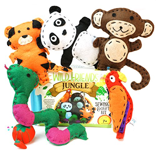 Tween Creature Costumes Set (Wild Friends Jungle Sewing & Craft Kit - Tiger, Monkey, Parrot, Snake, Panda)