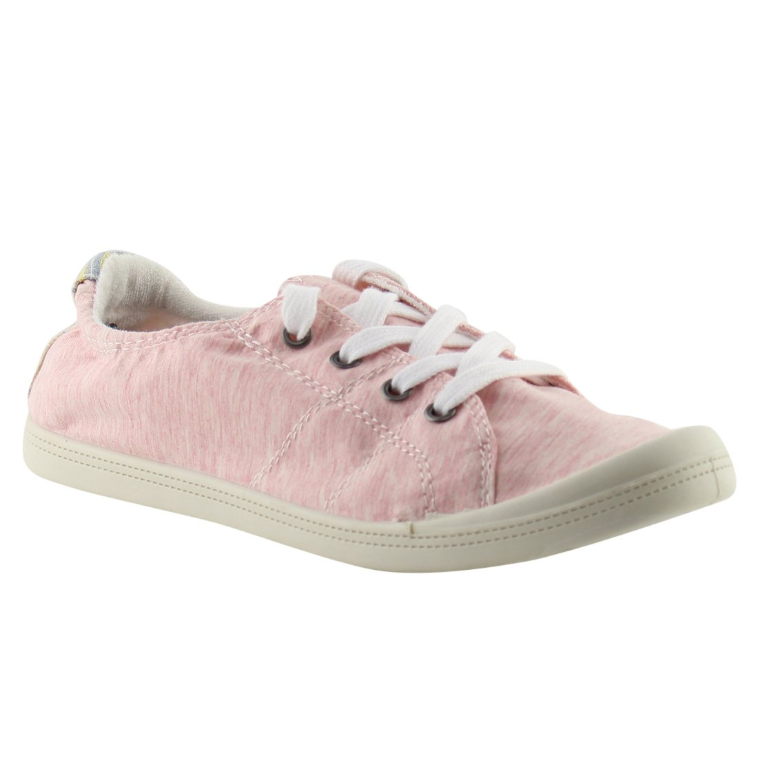 Forever FQ76 Women's Lace Street up White Sole Casual Street Lace Sneakers B07BF4Q3XR 8 M US|Pink 175036