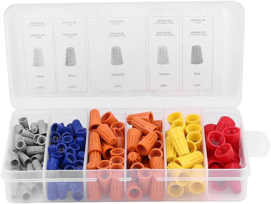 Qiilu 158pcs Assorted Twist-On Wire Connectors Screw Terminals Spring Insert Wring Caps