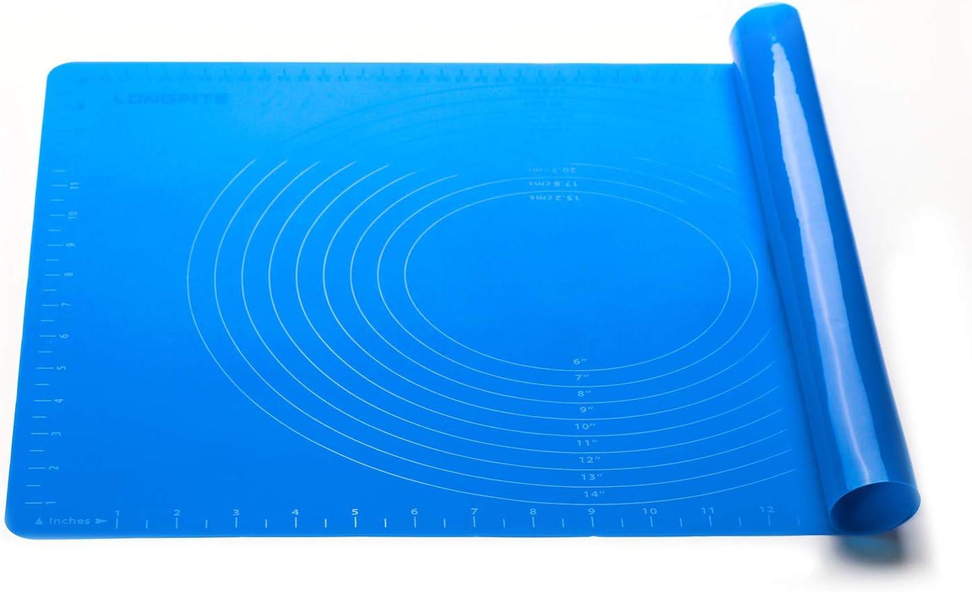 X gro/ße wiederverwendbare Silikon Tischset Antihaft Rollen Backen Geb/äck Matte mit Skala isoliert K/üche Arbeitsplatte Matte Rollteig Matte Schutz Fondant Pie Kruste Matte schneiden Tischsets Blue