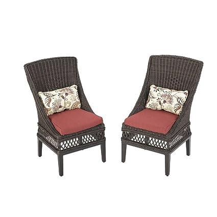 Groovy Hampton Bay Woodbury Patio Dining Chair With Dragon Fruit Cushion 2 Pack Download Free Architecture Designs Xoliawazosbritishbridgeorg