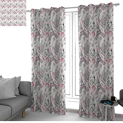 curtains Eiffel,Artistic Composition Floral Landmark Notre Dame Cathedral Bicycle Air Balloon,Rose Black White,Treatments Thermal Insulated Light Blocking Drapes Back for Bedroom 84