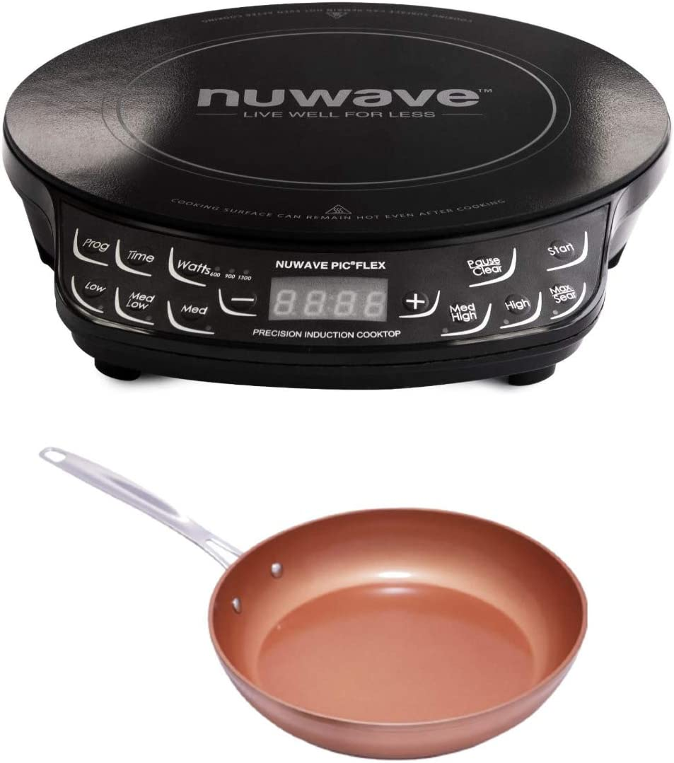 Nuwave PIC FLEX Precision Cooktop with 8 Ceramic Nonstick Fry Pan Bundle