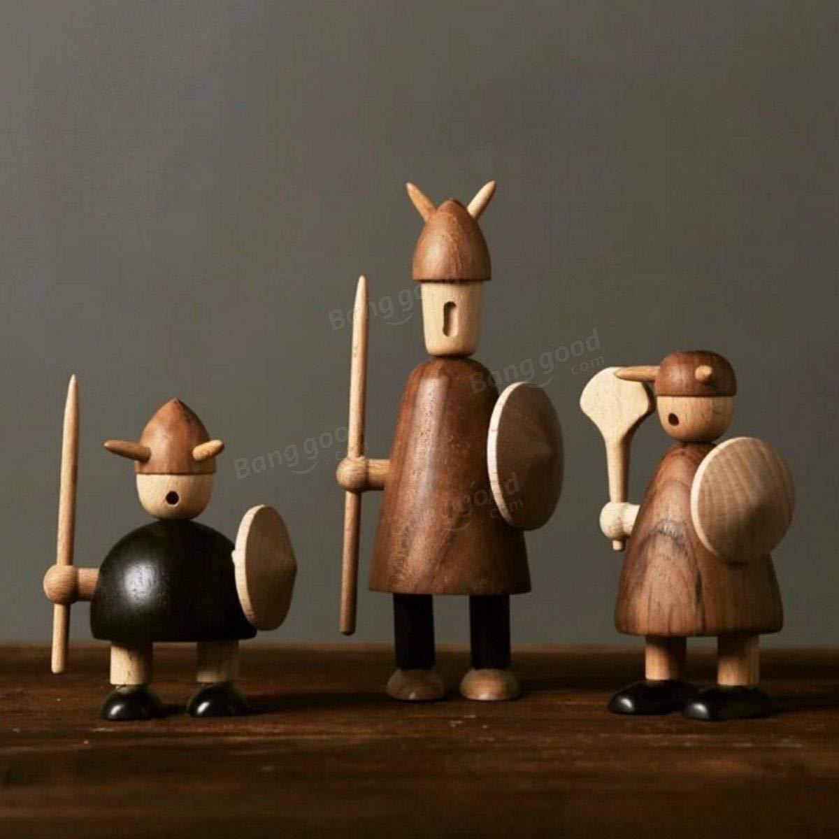 Global Global Global Brands Online Dänemark Stil Viking Action Figure Spatz Tiere Holz Puppe Teak Puppet Home Desktop Decor Spielzeug Geschenk ca91c7