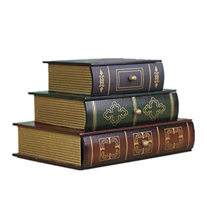 ZhongYi Vendimia Madera Libro superponer Tres Capas de la joyería Caja de Manualidades Adornos
