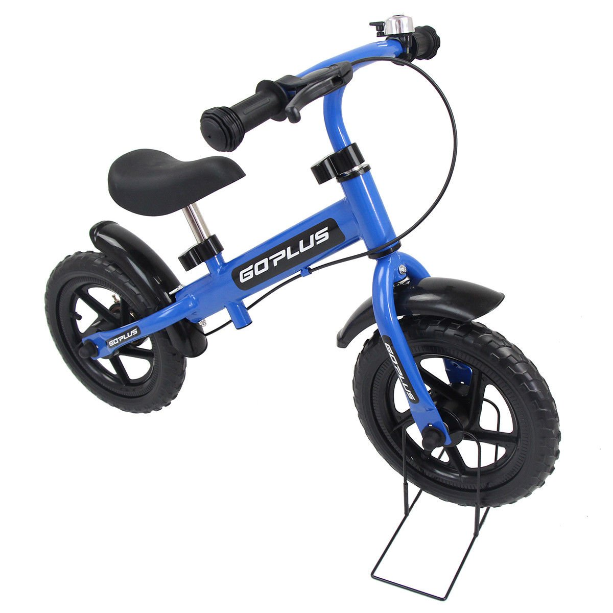 Goplus 12'' Kids Balance Bike No-Pedal Learn To Ride Pre Bike Push Walking Bicycle Adjustable Height with Bell Ring and Stand (Blue (with Splasher))