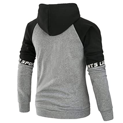 Amazon.com: Alalaso Mens Long Sleeve Patchwork Hoodie Hooded Sweatshirt Tops Jacket Coat Outwear: Clothing