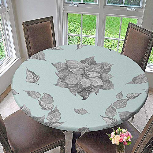 PINAFORE HOME Picnic Circle Table Cloths Grey Poinsettia Flower on a Blue Background for a Background or Wallpaper for Family Dinners or Gatherings 55