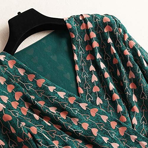 Lvjiyinren Fille Maxi Robe en Mousseline De Soie Dress Mode Femmes Col V Une Ligne Jupe Splicing Taille Haute À Manches Longues en Mousseline De Soie Maxi Dress