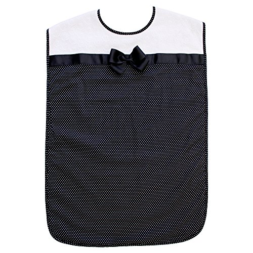 - Ladies Adult Bib, Black Polka-Dot Pattern with Bowtie, Frenchie Mini Couture