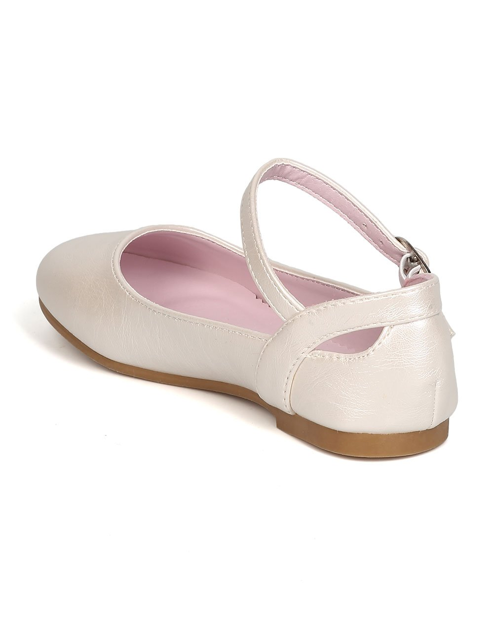 Girls Leatherette Ankle Strap Cut Out Ballet Flat GB42 - Ivory (Size: Little Kid 1) by Little Angel (Image #3)
