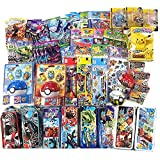Pokemon 12 Assorted Toy Sticker Card Pokeball School Supply Stationary Gift Set