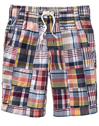 (Gymboree Boys' Little Patchwork Woven Shorts, Gym Navy Plaid, 7)
