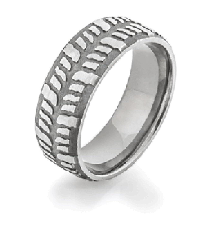 Men s Titanium Mud Bogger Wedding Ring Dome Profile 9mm Wide