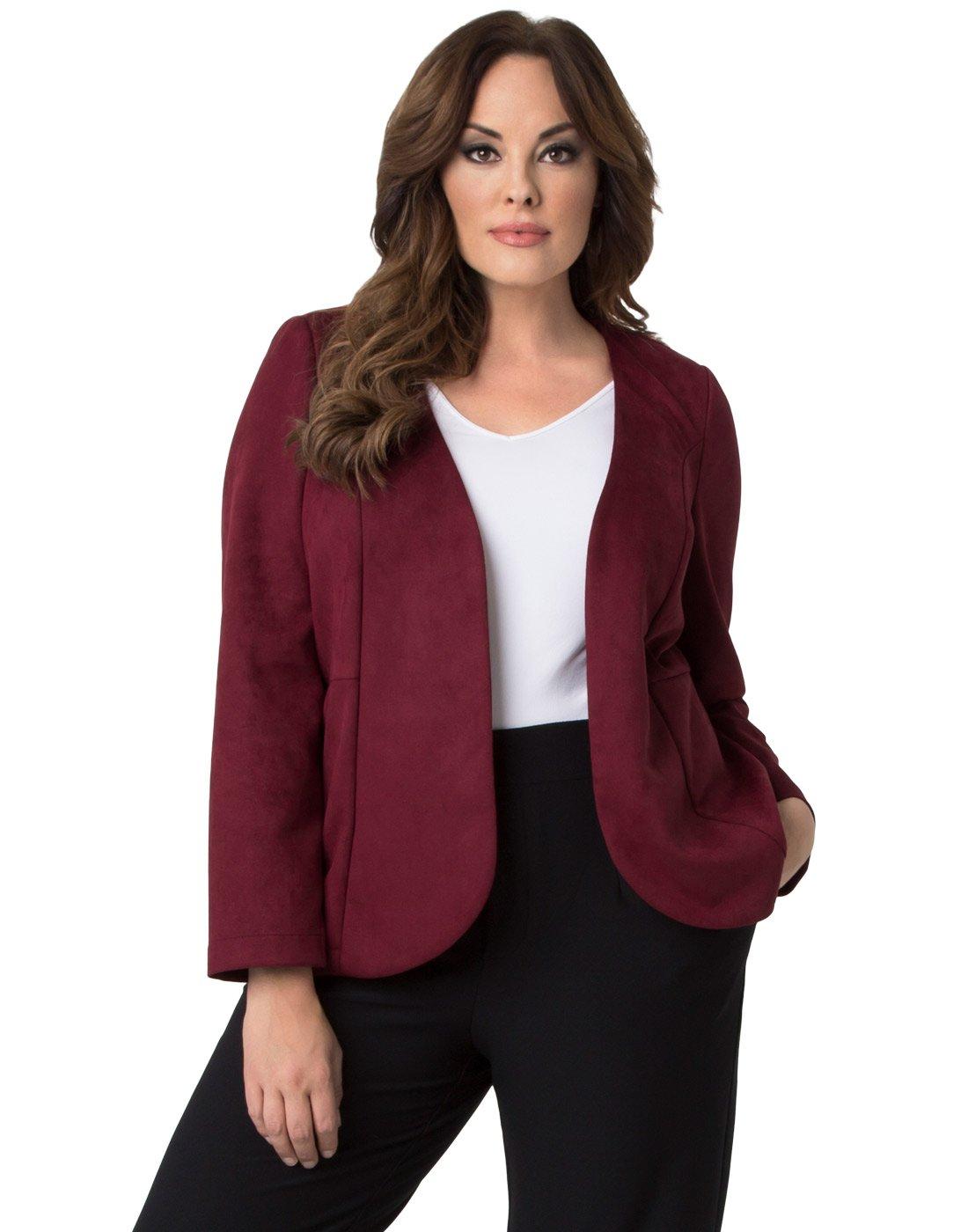 Kiyonna Women's Plus Size Mackenzie Faux Suede Blazer 2X Merlot