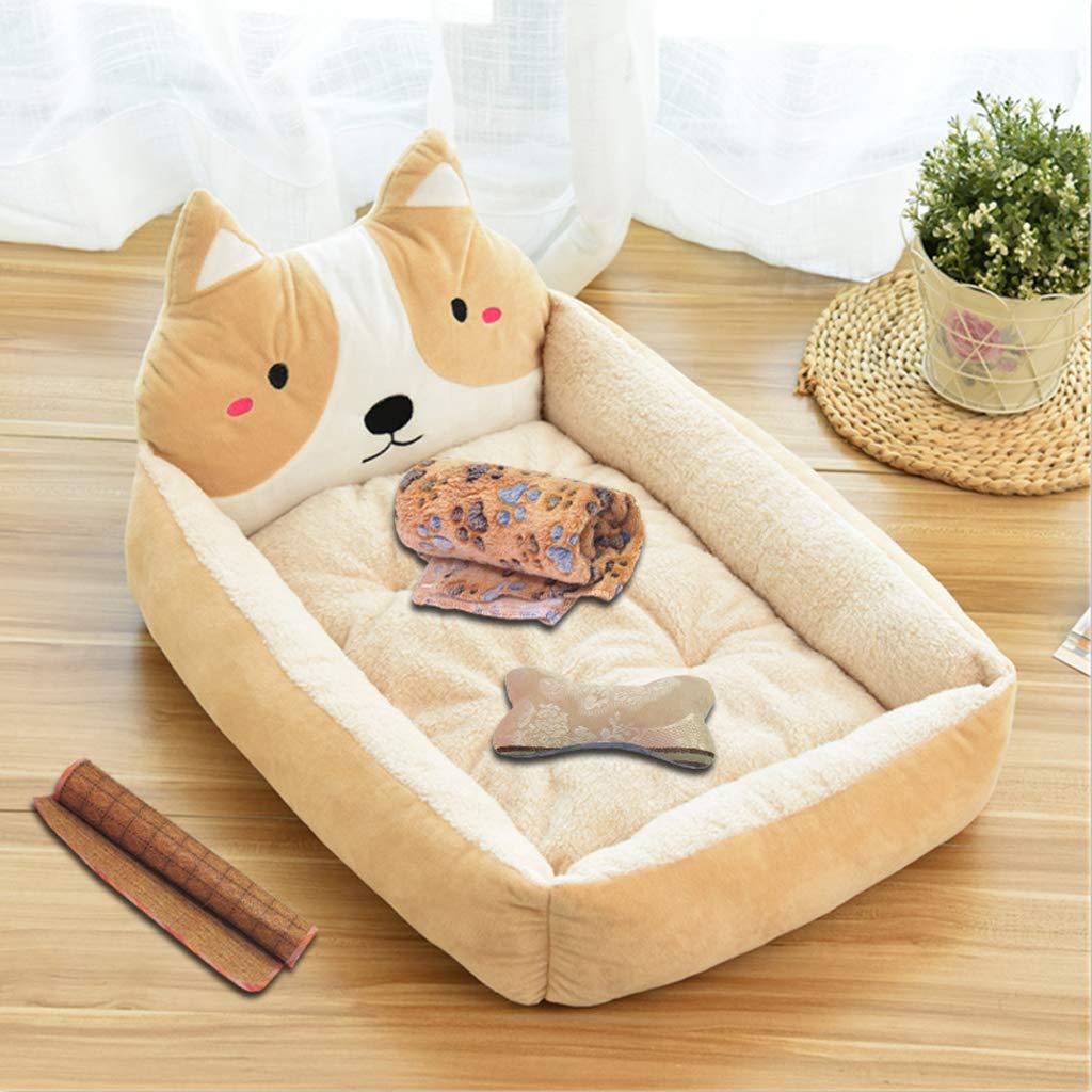 Beige 605014cm Beige 605014cm Pet nest, winter PP cotton warm dog mattress + blanket + bone pillow + mat, 5 styles   4 sizes
