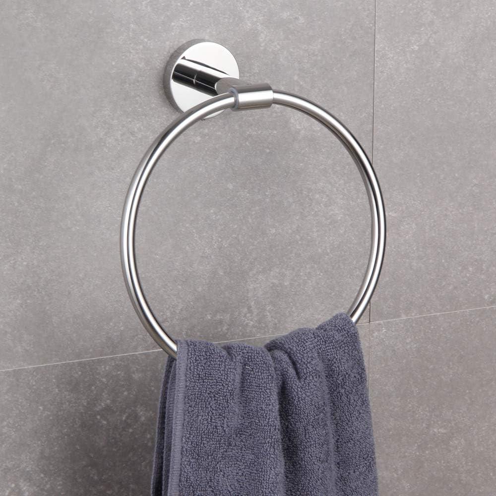 Hand Towel Ring SUS 304 Stainless Steel Swivel Kitchen Towel Hanger Modern Round Bathroom Hardware Space Saver Matte Black