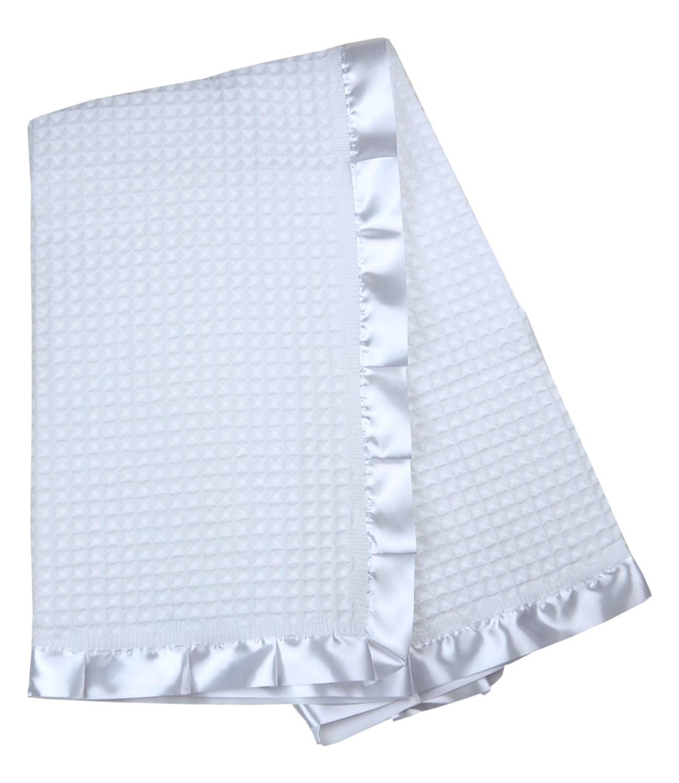 BabyPrem Baby Blanket Shawl Satin Edge Christening Baptism Knitted White 110 x 100cm PY021